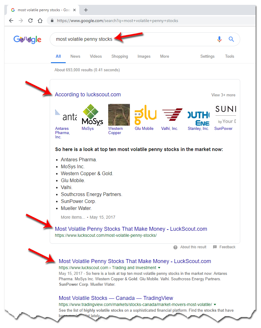 #1 and Featured Site on Google